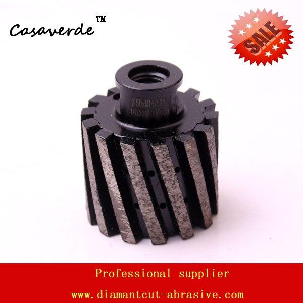 Arbor M14 DC-MDWPP02 2 inch (50mm) diamond zero tolerance drum wheels for grinding stone diameter 50mm diamond sintered standard stubbing grinding wheels for stone processing