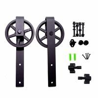 LWZH Antique Black Steel Sliding Barn Wood Door Hardware Kit Closet Set Track Roller For Interior