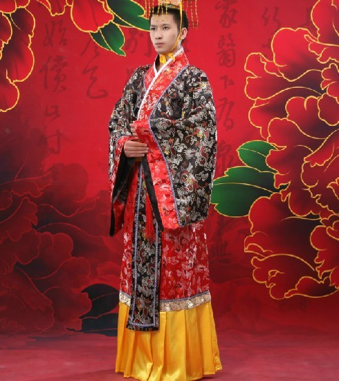 80c93134f Free Shipping Vintage Classical Chinese Traditional Folk Dance Costumes  Hanfu Stage Clothing Emperor's Long Gown for Men-in Robe & Gown from  Novelty ...