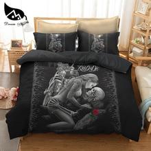 Dream NS Bedding Set Polyester Fiber Cotton Motorcycle Beauty Skeleton Dark System Quilt Cover Pillowcase Bedding Set