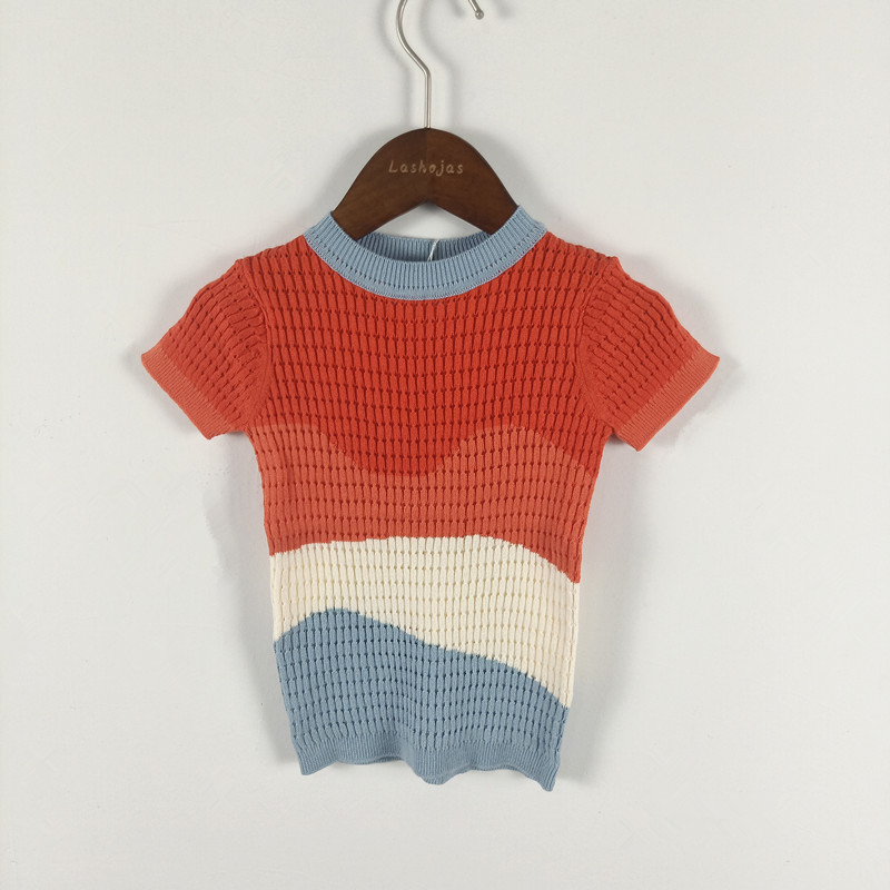 Summer New Blue Red Beige Wave Sweater for Kids Boys Girls Summer Short-sleeve Knitted Sweater 2-8 YearsSummer New Blue Red Beige Wave Sweater for Kids Boys Girls Summer Short-sleeve Knitted Sweater 2-8 Years
