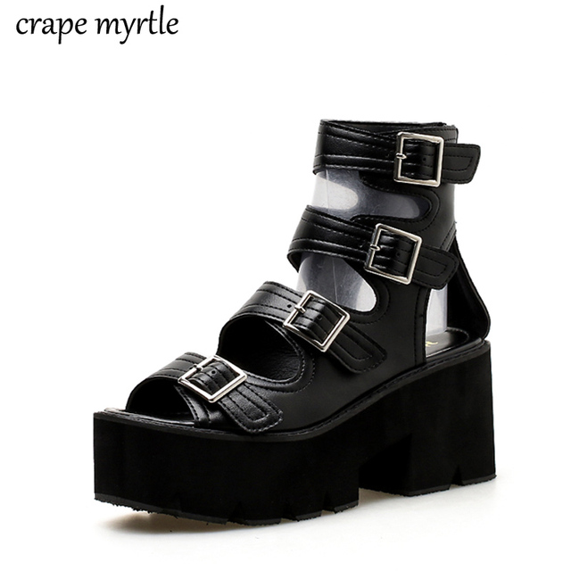 f40ad7d2e39 chunky heel sandals punk shoes Sandals High Heels Platform Sandals Women  Summer Shoes sandalias romanas women s sandals YMA425