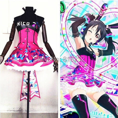 Love Live School Idol Project Cyber Video Games Yazawa Nico Light Up Slip Dress Tee Dress Uniform Outfit Anime Cosplay Costumes