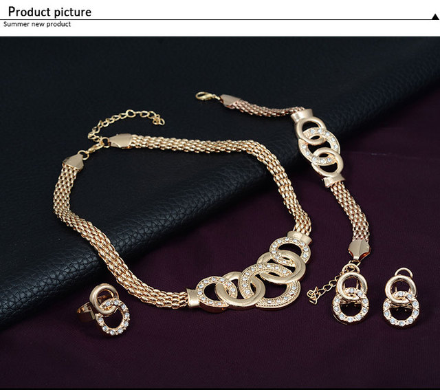 African Beads Jewelry Set  4 Pieces Earrings Set + Bracelet + Ring + Necklace