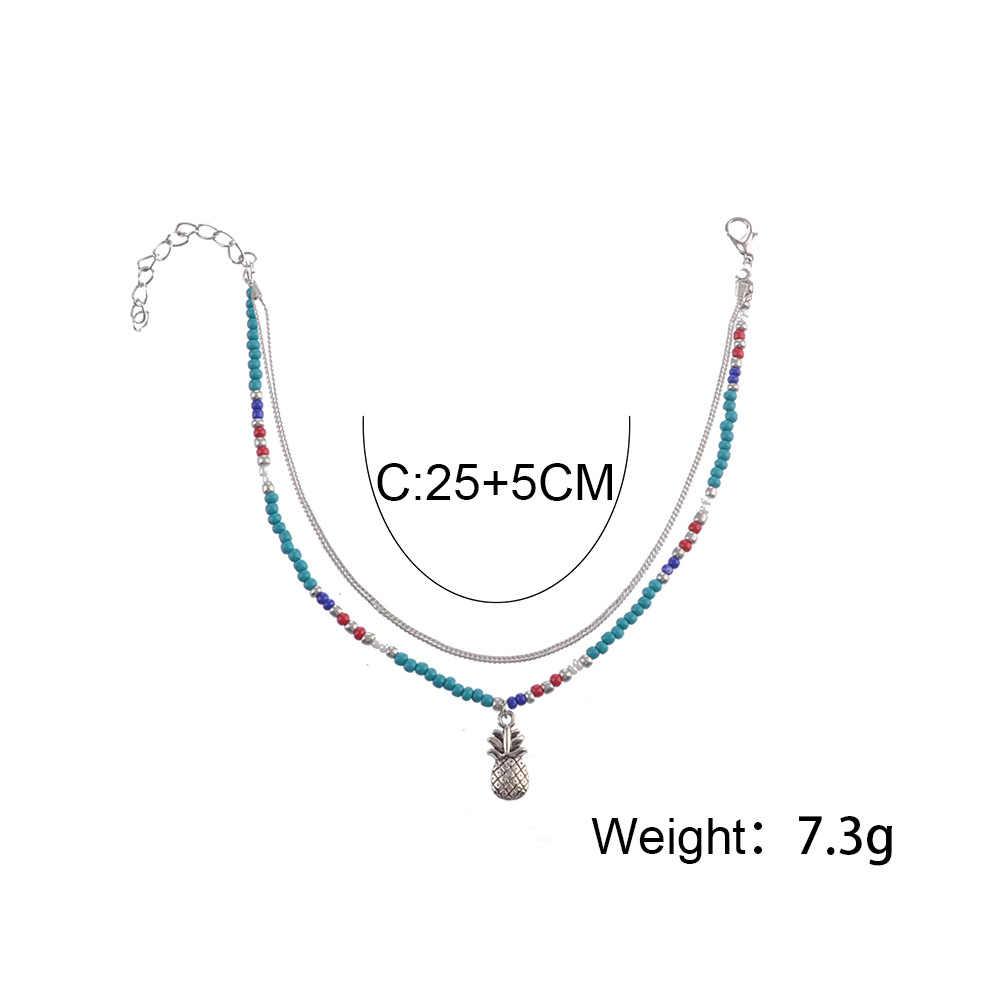 Bohemia Vintage łańcuchy z koralików warstwy biżuteria na stopy letnia plaża boso obrączki kobiece Boho ananas Anklet akcesoria