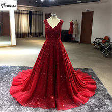 Hot Selling Long Crystal Customized Evening Dress Beads Crystal Chiffon Prom Dress Party Gown For Women