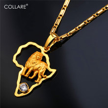 Collare African Map Lion Necklaces Pendants Gold Silver Color Zirconia Wholesale Charm Africa Jewelry Necklace Women