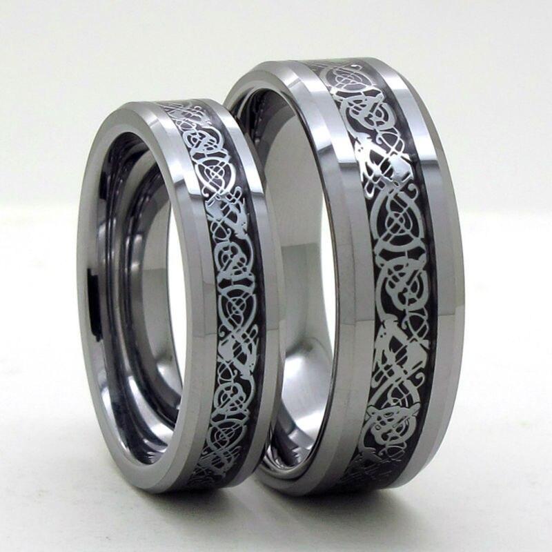 tailor made 8mm 6mm silver dragon inlay tungsten carbide wedding ring set size 4 18 cnr68 - Tungsten Wedding Ring Sets