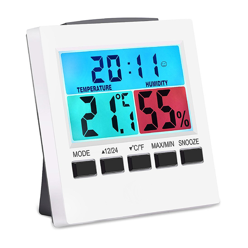 EAAGD Indoor Thermometer Hygrometer Digital Humidity Monitor Gauge with Backlight Alarm Clock with Colorful LCD Temperature