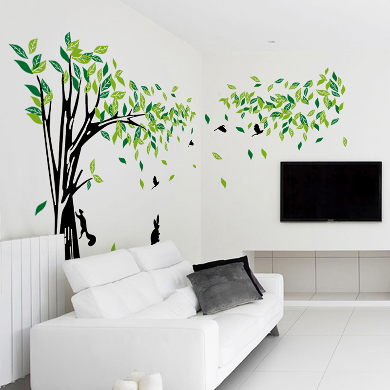 Aliexpress.com : Buy Large Green Tree Wall Sticker Vinyl Living Room TV Wall  Removable Art Decals Home Decor DIY Poster Stickers Vinilos Paredes From ... Part 28