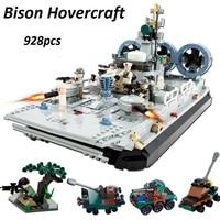city lepinS war Military Series bison hovercraft Building Blocks Bricks boat Model kits Kid DIY ship Toys Christmas Gift