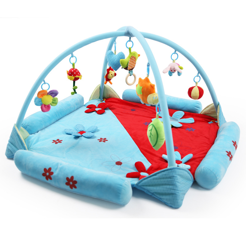 ФОТО Big Size 120CM Length Soft Fleece Play Mat For Baby With Animal Rattles BB Music