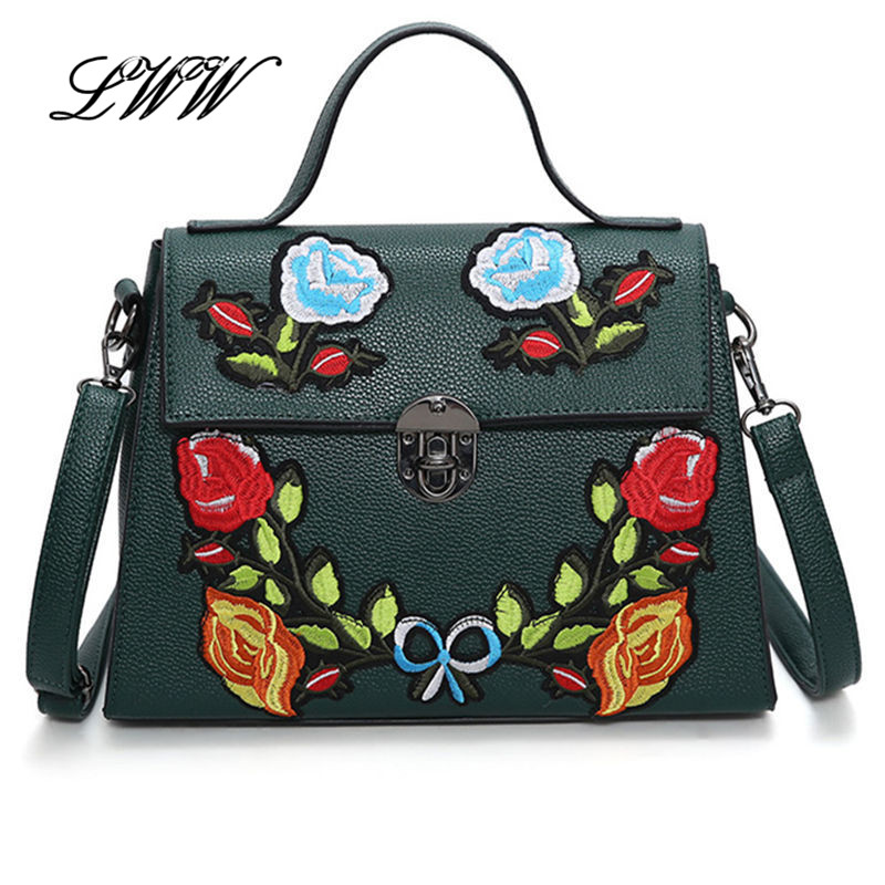 ФОТО Stylish Flowers Luxury Handbags Women Bags Designer Embroidery Women Shoulder Bags Big Crossbody Bag for Lady High Quality