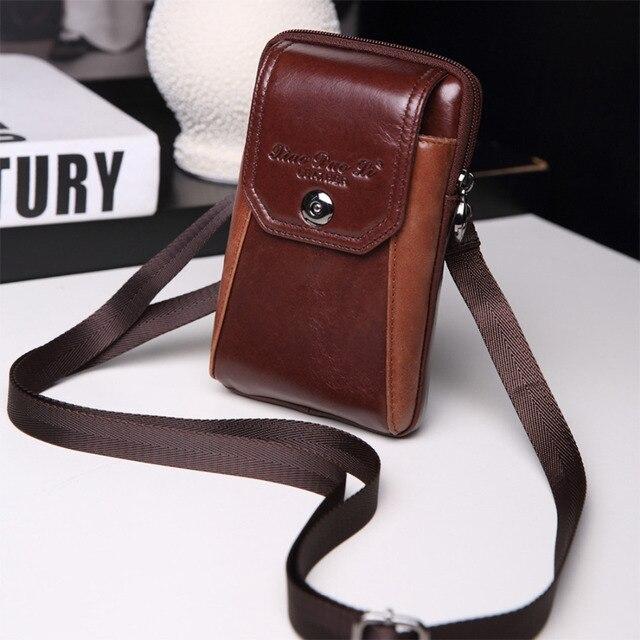 2017 New Men Genuine Leather Cell/Mobile Phone Cover Case Messenger Shoulder Cross Body Hip Belt Bum Purse Fanny Pack Waist Bag
