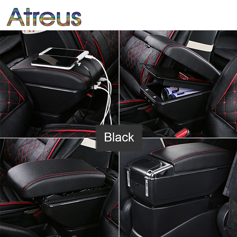 Auto Car Armrest Box Modified For Ford Fiesta 3 MK7 2017 2016 2015 2009 USB Charger Cup Holder Ashtray Organizers Accessories