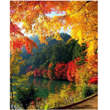 NEW Sale Diy 5D Diamond Painting Autumn Full square  Mosaic Picture Embroidery Landscape Pattern Rhinestones