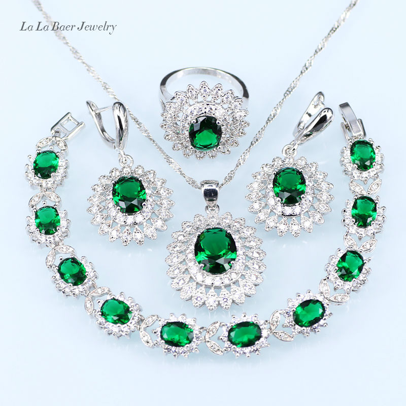 L&B Romantic Green crystal White zircon Silver color Jewelry Sets For Women Earrings/Ring/Pendant/Necklace with 925 logo
