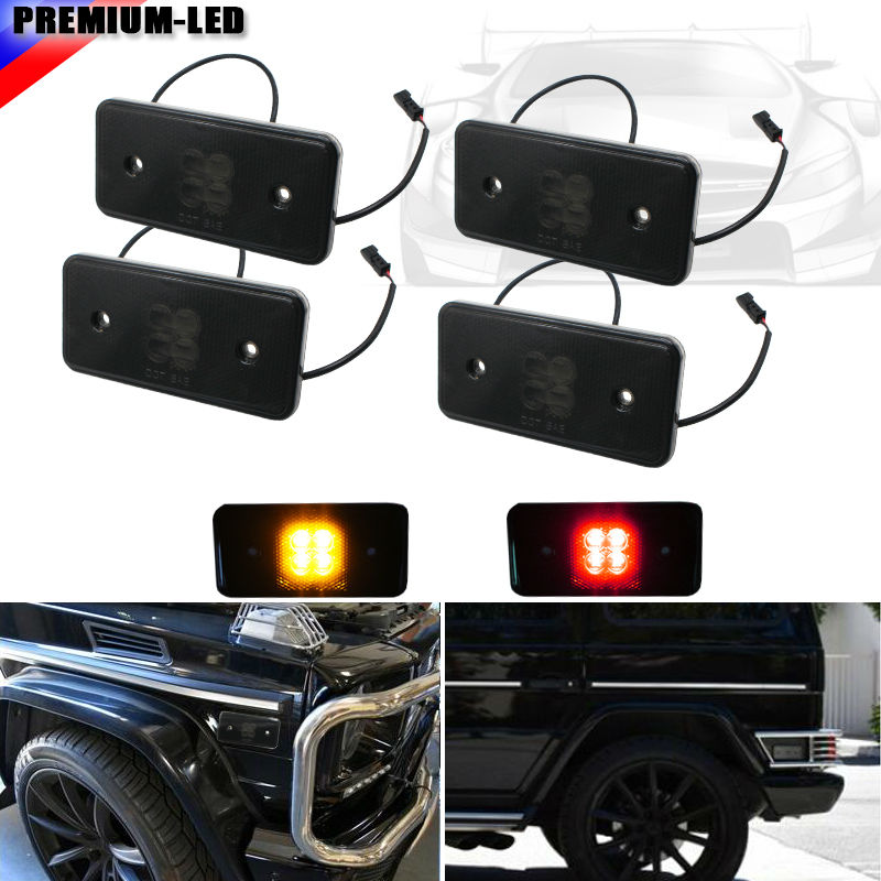 (4) Smoked Lens Front & Rear LED Side Marker Lights SET For 2002-2014 Mercedes W463 G-Class G500 G550 G55 G63 AMG