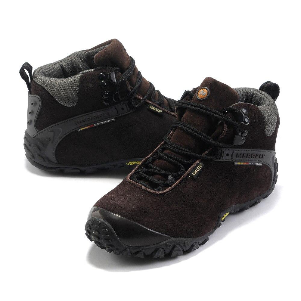Hot Sale Dark Brown Warna Merrell Pria Sepatu Hiking Climbing Branded Maroon Ampamp Black Gunung Sneakers Tinggi Atas Lapisan Bulu Musim Dingin Di Shoes