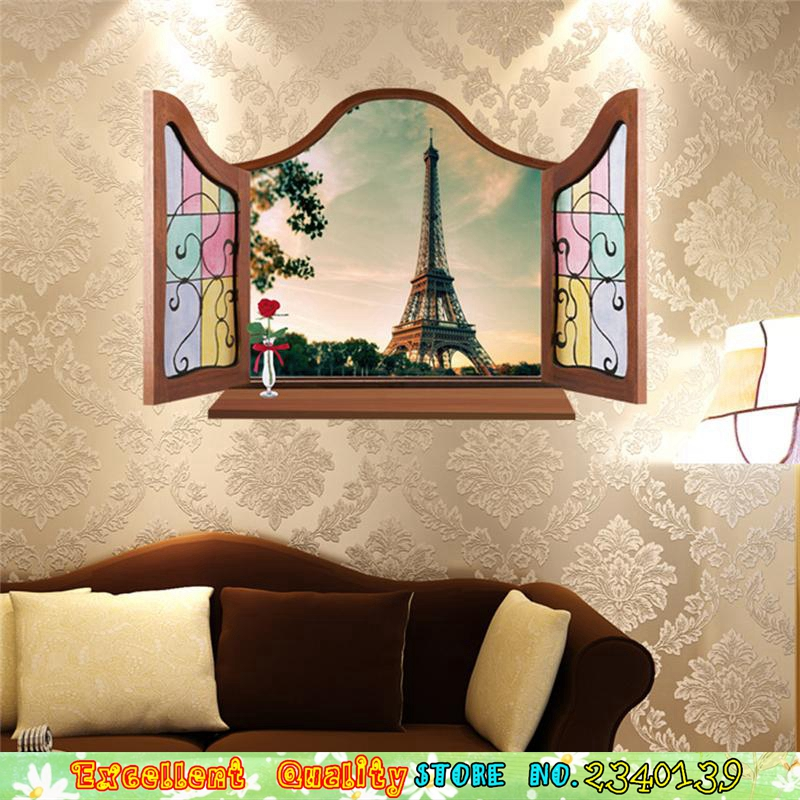 Nice 4 Designs 3D Windows Tourist Websites Eiffelturm Venedig Wand Aufkleber Diy  Home Wandmalerei Dekoration Schlafzimmer Pvc Wand Aufkleber In 4 Designs 3D  ...