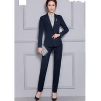 Autumn and winter woman suit long sleeve fashion simple style high quality custom formal Christmas woman suit two piece