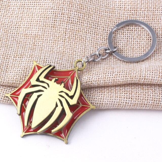 Avengers Super Hero Spiderman Rotatable Keychain Spider Red Web Pendant Key Chain for Women Men Keyring llaveros Jewelry 2