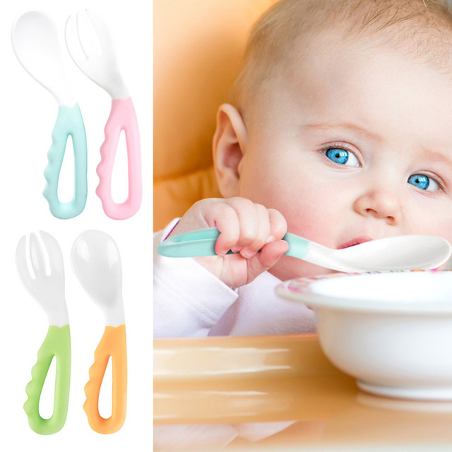 2Pcs Baby Pacifier Feeding Spoon fork Solid Supplies Curved Handle Easy-To-Hold Children Tableware Baby Eating Training set