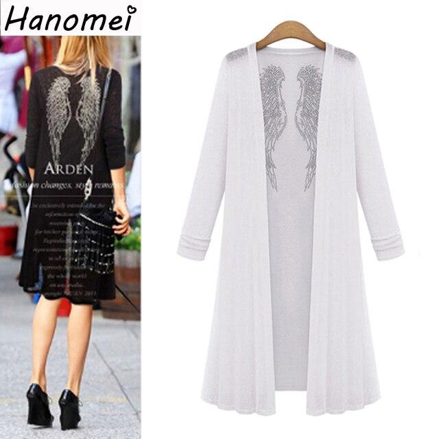 Kimono Plus Size 5XL Diamonds Blouses For Women Knitted Tops 2017 Long Sleeve Blusas Loose Chemise Femme Back Wings Blouse C311