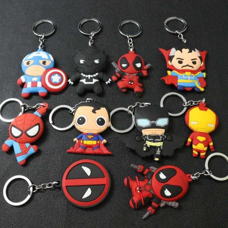 2018 новые Супергерои косплей милые брелоки Человек-паук Бэтмен Капитан Америка и Супермен ПВХ фигурка модель ювелирных изделий