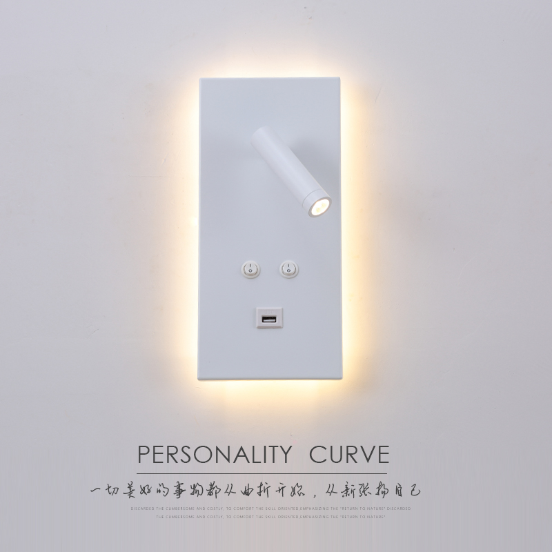 2018 New Modern Minimalist Wall Lamp With Mobile Phone USB Charging Wall Lamp Living Room Hotel Bedroom Bedside Reading Light
