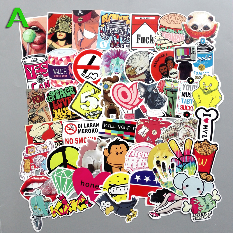 TD ZW 50Pcs/Lot Mixed DIY Waterproof Funny Laptop Car Stickers For Trunk Skateboard Guitar Fridge Home Decal Toy Stickers