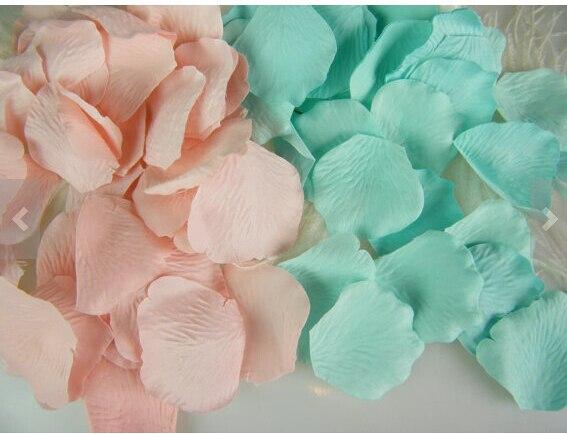 1000PCS Mixed Mint Green & Pink Silk Rose Petals Wedding Flowers ...