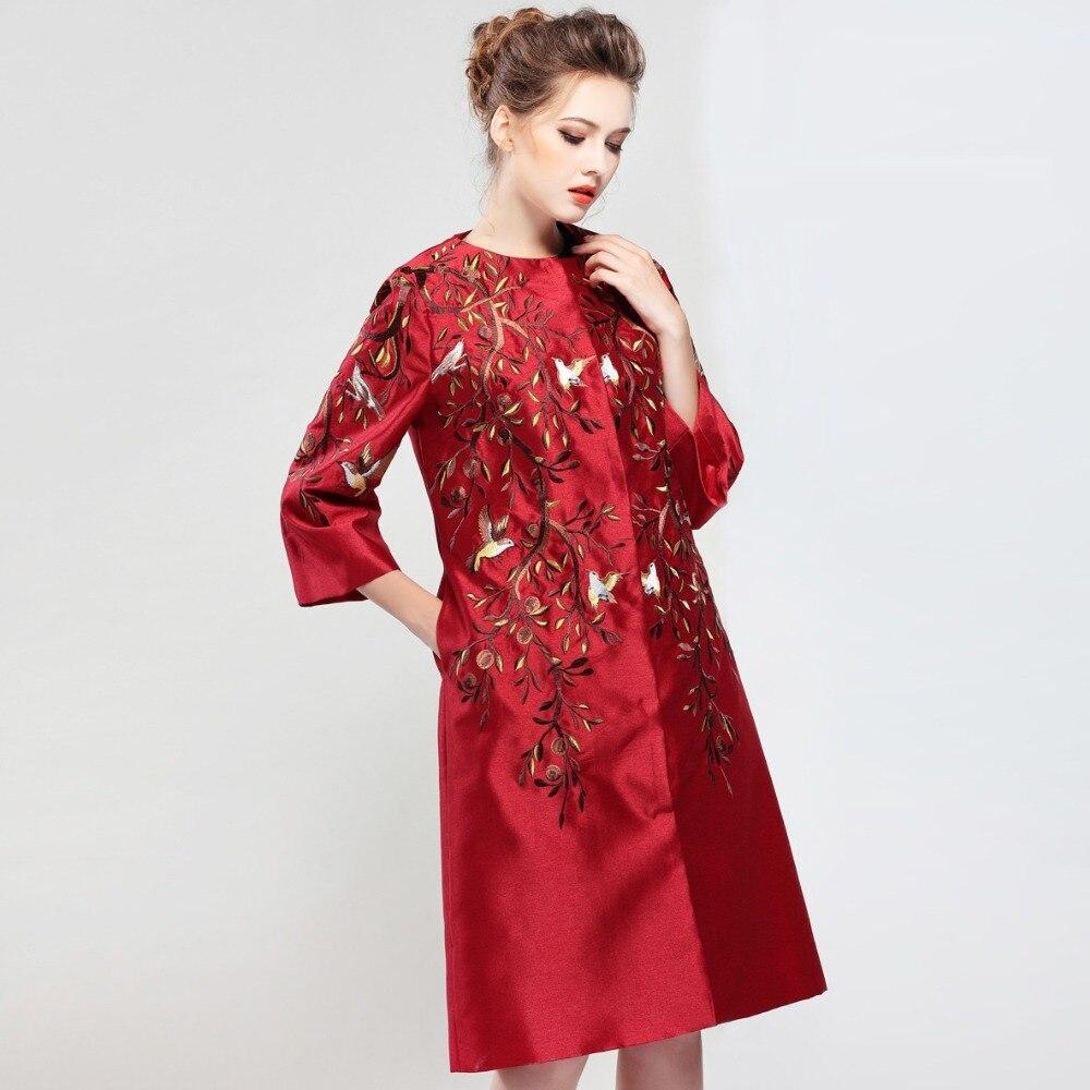 Manteaux Haute Nouvelle Color Vêtements picture Vintage Color Printemps Hiver Manteau Automne Long Lâche Qualité 2018 Broderie Mince Femmes Mode Élégant Picture 5vqRxAd5