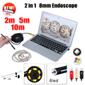 Endoscópio 8mm USB Endoscópio Android 5 M 10 M OTG PC USB Endoscopio Mini Câmera Endoscópio 720 P Inspeção Câmera Do Telefone à prova d' água