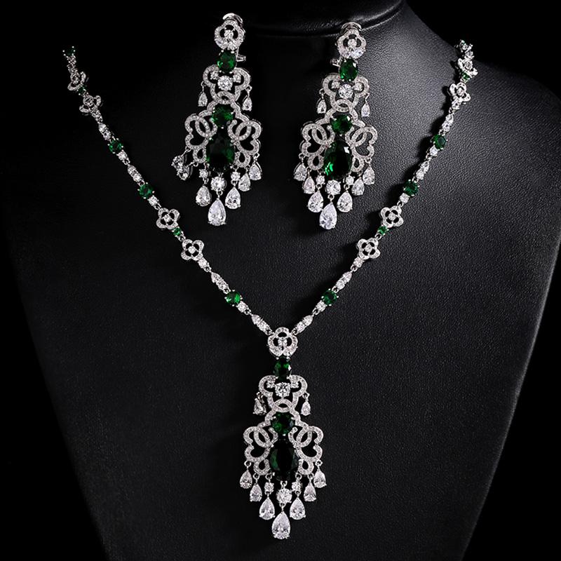 Luxury 3 Colors Stones AAA Cubic Zirconia Bridal Jewelry Sets Silver Color Necklace Set Fashion Wedding