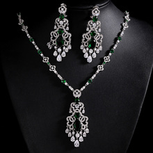 Luxury 3 Colors Stones AAA Cubic Zirconia Bridal Jewelry Sets Silver Color Necklace Set Fashion Wedding Jewelry Bijoux Femme