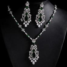 Роскошные 3 цвета камни AAA кубического циркония свадебные украшения, Серебряные наборы Цвет колье модные свадебные украшения Bijoux Femme