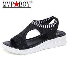 Mvp Boy New Female Sandals Woman Summer Wedge Comfortable Shoes Ladies Slip-on Flat Women Sandalias Eu 35-41 black gray