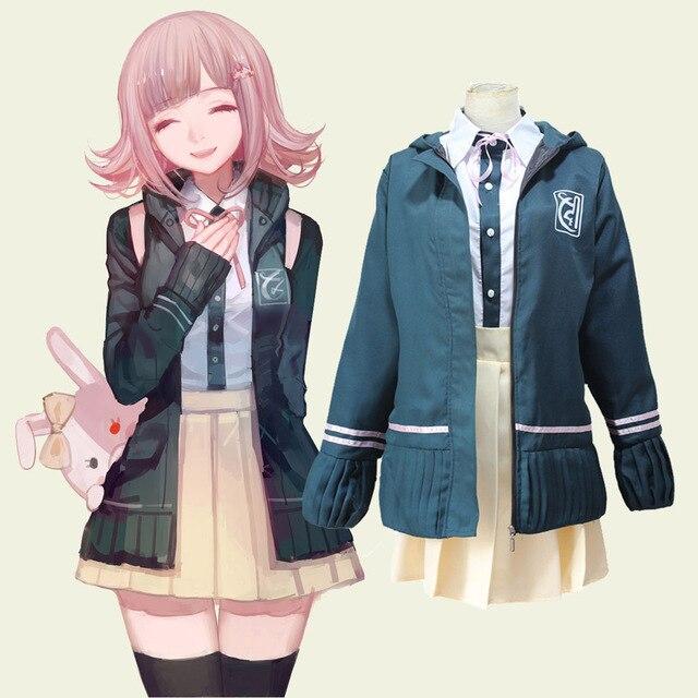 Anime Super Danganronpa 2 Chiaki Nanami School Uniforms Cosplay Costumes Dangan Ronpa Full Set Outfit