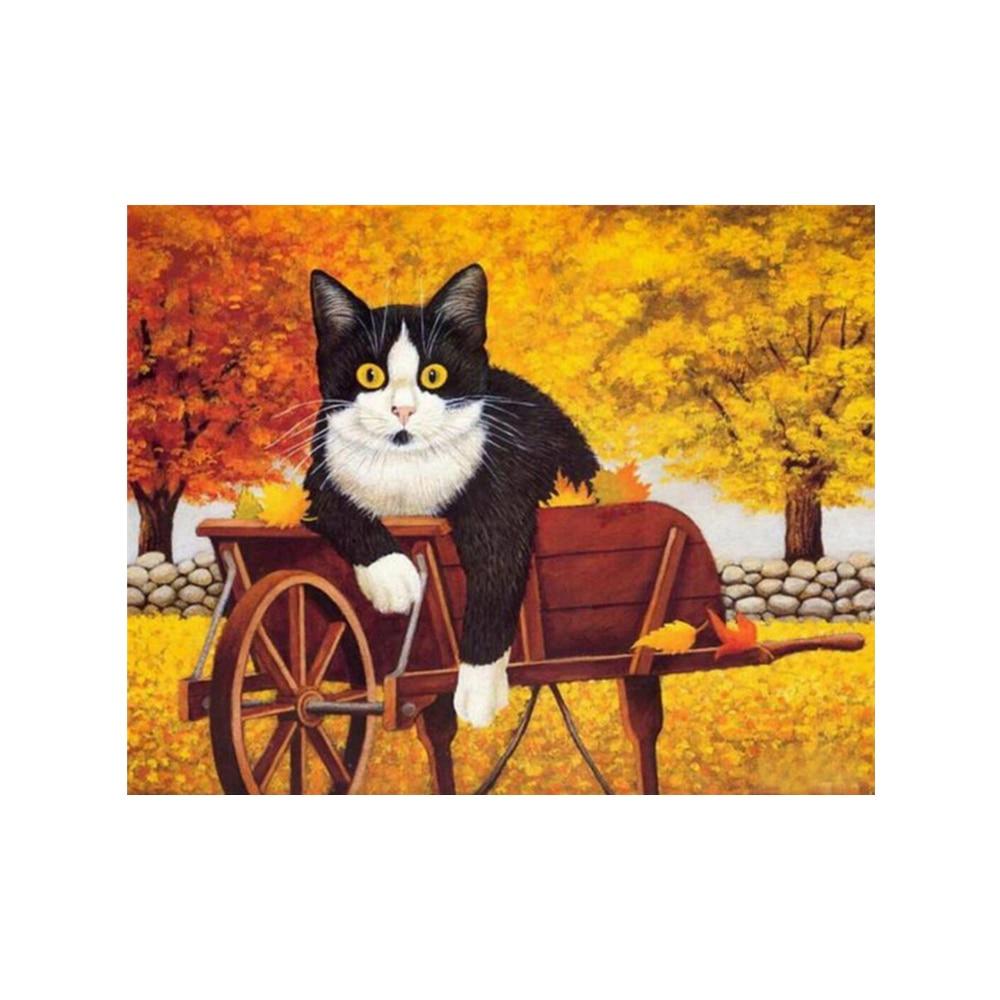 2530cm authmn harvest cute fat cat diy 5d diamond painting animals cross stitch embroidery - Harvest Decor