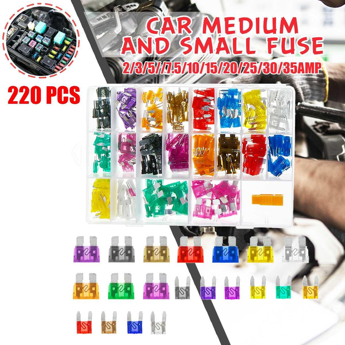 120x Mini Auto Car Van Boat Fuses Blades Assorted Kit 2 3 5 10 15 20 25 30 35 A