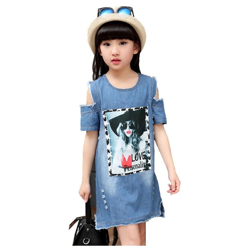 Brand Baby Girls Denim Dress Children Kids Casual Clothes Pattern Dresses 4 5 6 7 8 9 Year Letter Dresses Girls Leakage Shoulder платье для девочек unbrand baby v 2 6 kids dress