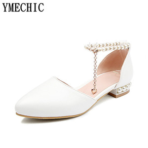 Image 3 - Ymechic sapatos femininos de salto baixo, calçados para moças, branco, rosa, de noiva, com cordão, para mulheres, casual, verão 2018 tamanho do tamanho