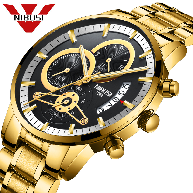 NIBOSI Quartz Watch Men Gold Black Mens Watches Top Brand Luxury Sports Watches 2019 Reloj Hombre Waterproof Relogio Masculino