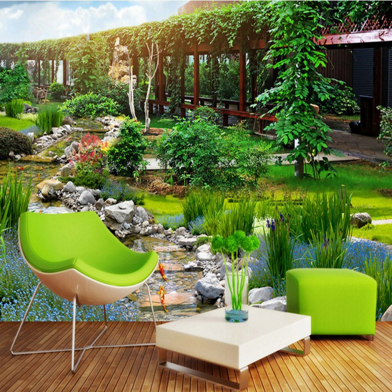 Free Shipping Park 3D Landscape Home Decoration Bedroom Bathroom Living Room Lobby Coffee House Wallpaper Mural