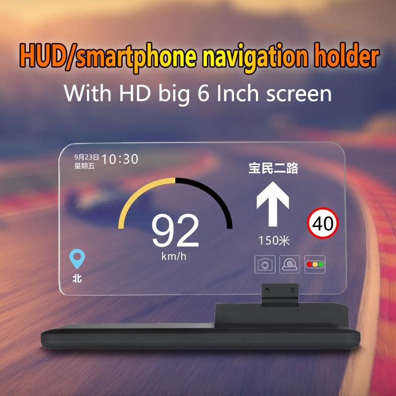 Universal H6 Car HUD Head Up Display proyector navegación teléfono Smartphone soporte GPS Hud para cualquier coche 6 pulgadas