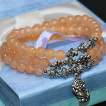 Hot sale natural light orange jade chalcedony multilayer bracelets 6mm round beads long for women elegant gifts jewelry B2206