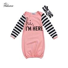 Одежда для новорожденных девочек; хлопковая одежда для сна с длинными рукавами и надписью; одежда для сна; спальный мешок; одежда для сна+ повязка на голову