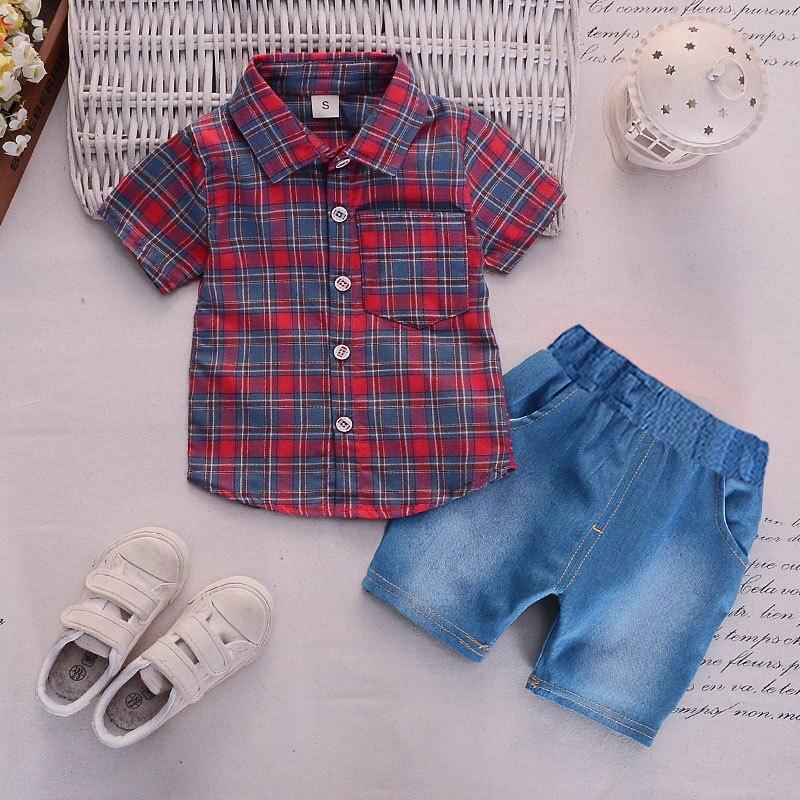 Summer 2019 new Boys Clothing Baby boy cute plaid short-sleeved shirt + shorts Set 2 pieces Children Sets