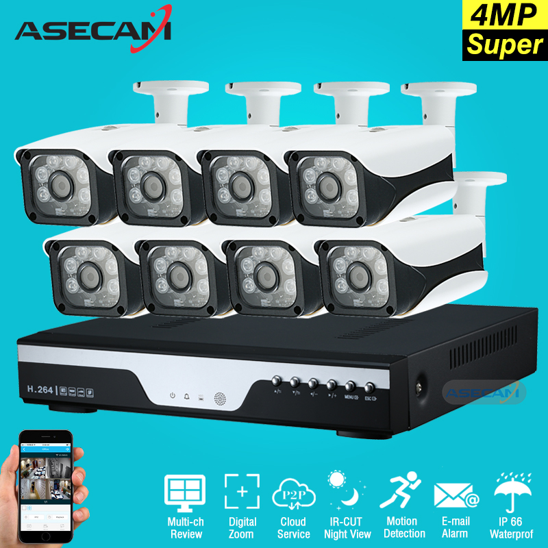 New Super 8CH HD AHD 4MP Home Outdoor Security Camera System Kit 6led Array Video Surveillance